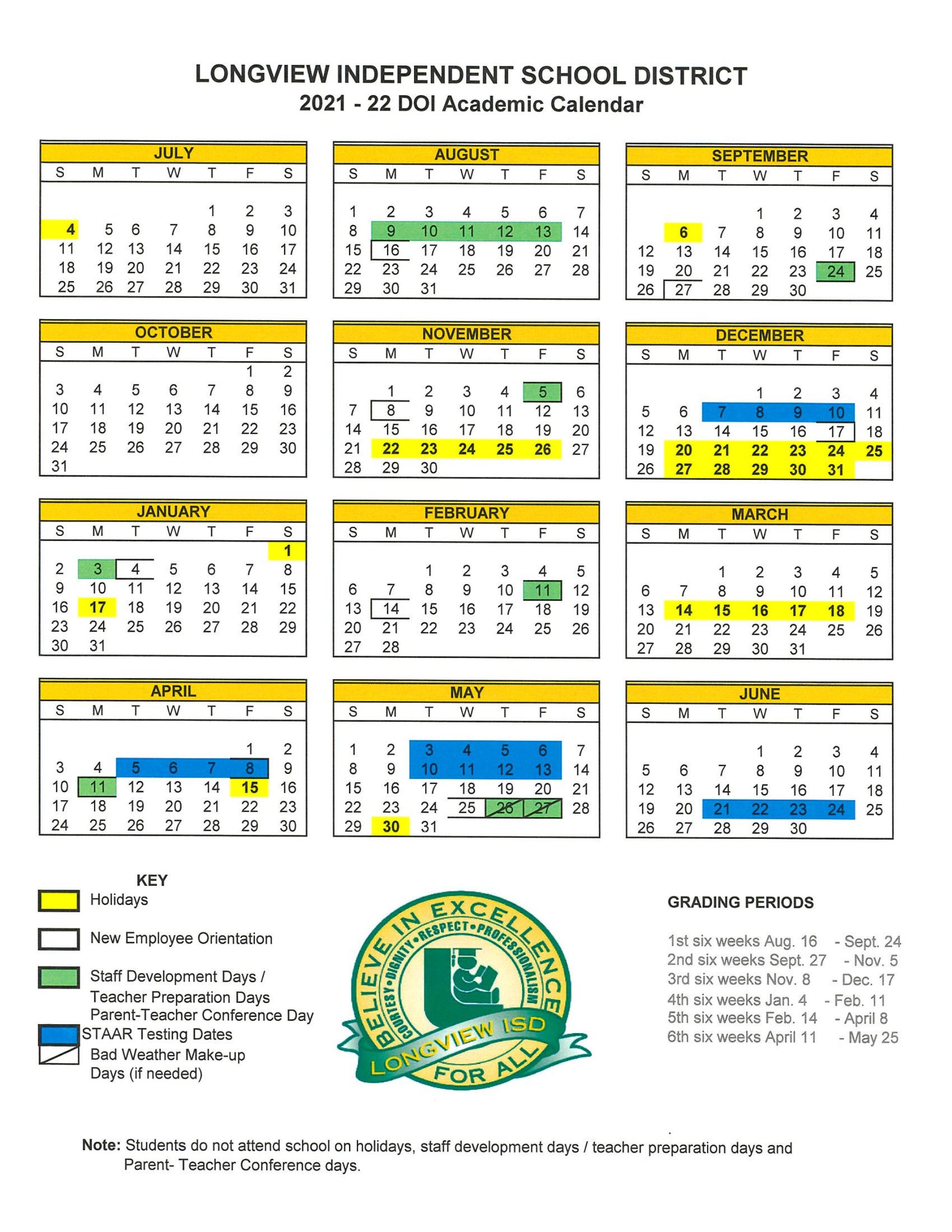 Texas Tech Calendar 2022.District Calendar