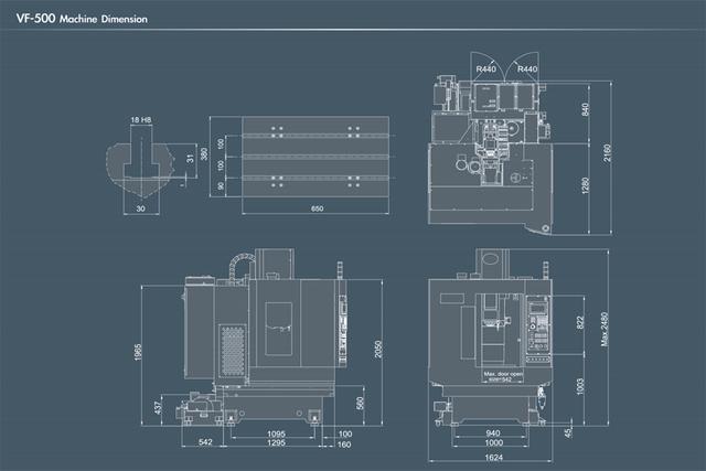 ukuran Mesin CNC Milling 3Axis VF 500