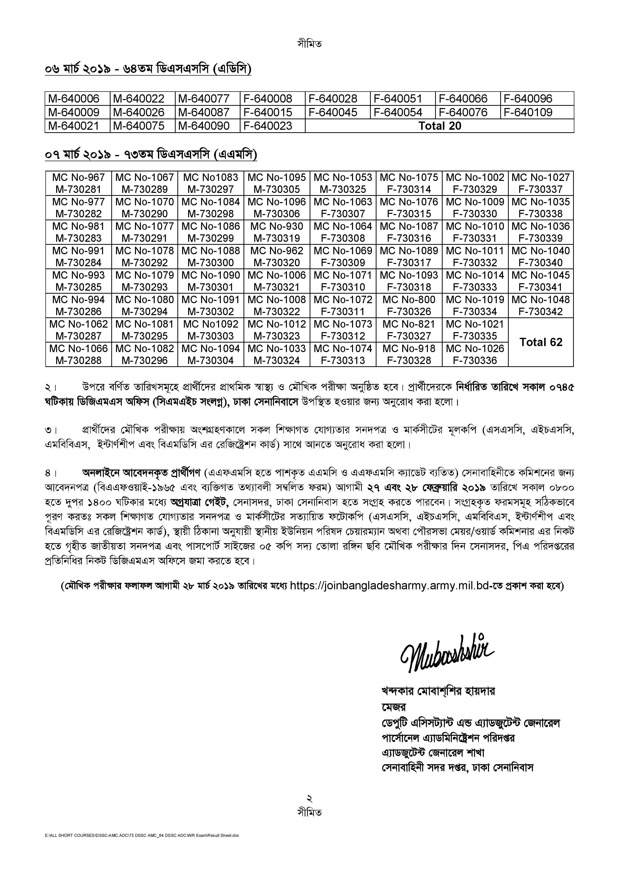 Bangladesh Army Exam Result 2019