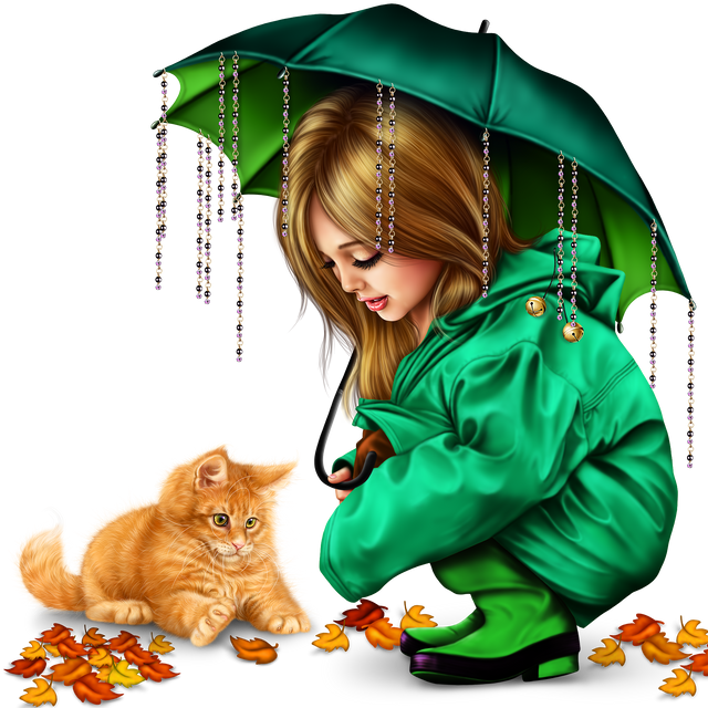 little girl in raincoat with a kitty png 1610fd9b9482b3109b.png