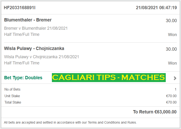 Official DOUBLE HT/FT FIXED MATCHES FOR CAGLIARI FIXED MATCHES