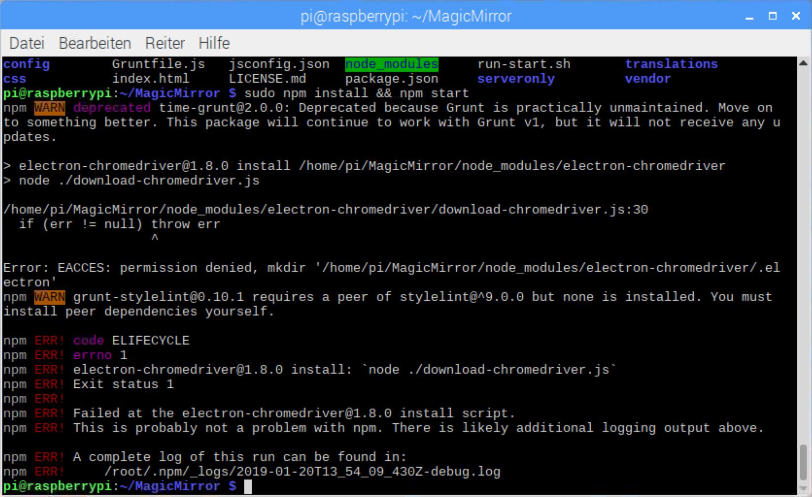 Error installing electron-chromedriver with npm  | MagicMirror Forum
