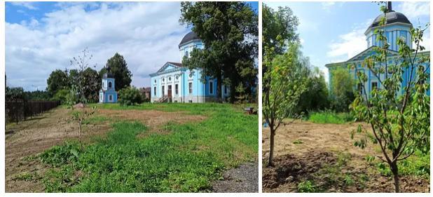 3 августа при активном участии прихожан Благовещенской церкви села Поливаново был закончен очередной этап благоустройства прихрамовой территории - после планировки участка высажены туи, черешни, ели, посеян газон; покрашены ограждения