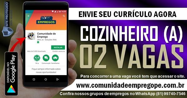 COZINHEIRO (A), 02 VAGAS COM SALÁRIO R$ 1200,00 PARA RESTAURANTE FAST FOOD EM PAULISTA