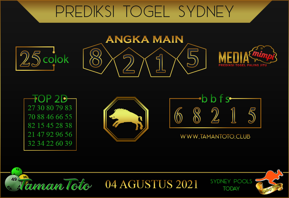 Prediksi Togel SYDNEY TAMAN TOTO 04 AGUSTUS 2021
