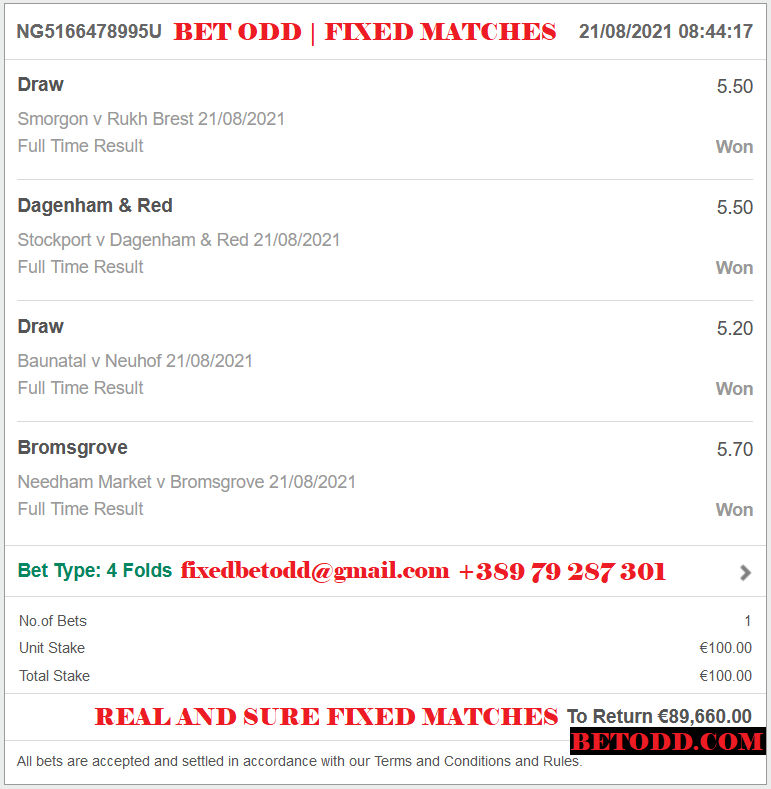 BET ODD VIP TICKET FOR 21/08/2021 - 4 COMBINED FIXED MATCHES