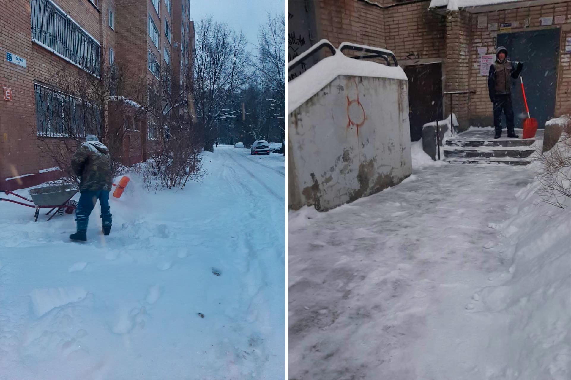 Убрали последствия снегопада в микрорайоне Северный