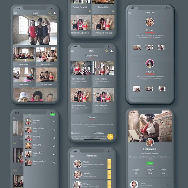 Ionic 5 Gray UI Theme / Template App