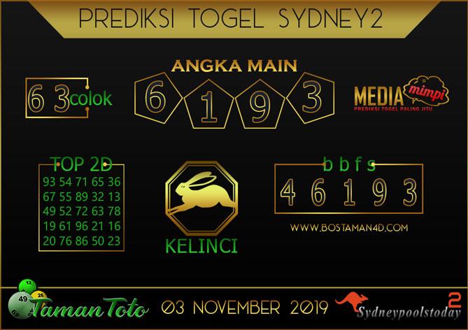 Prediksi Togel SYDNEY 2 TAMAN TOTO 03 NOVEMBER 2019