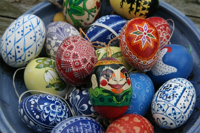 An image of brightly decorated Easter eggs.