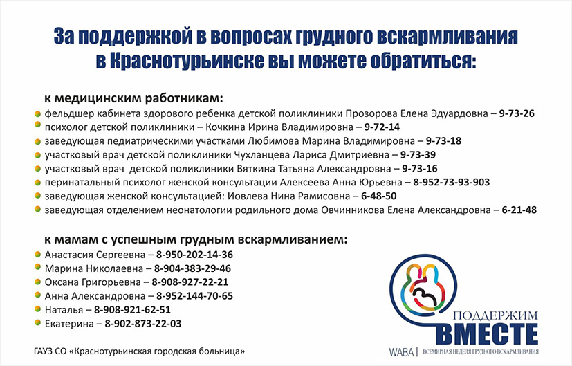 Куда обращаться в Краснотурьинске по вопросам поддержки грудного вскармливания