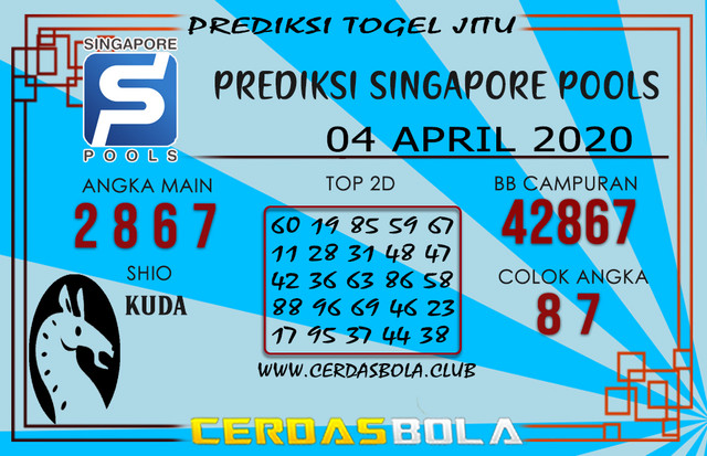 Prediksi Togel SINGAPORE CERDASBOLA 04 APRIL 2020