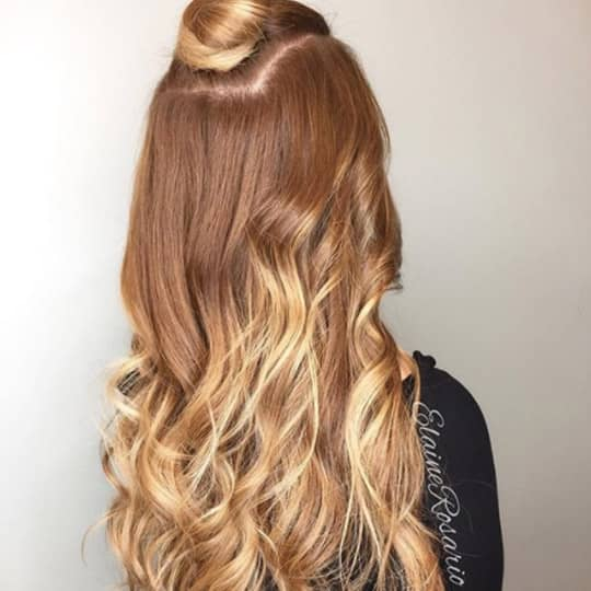 Strawberry Blonde with Blonde Ombre-strawberry-styled-hair