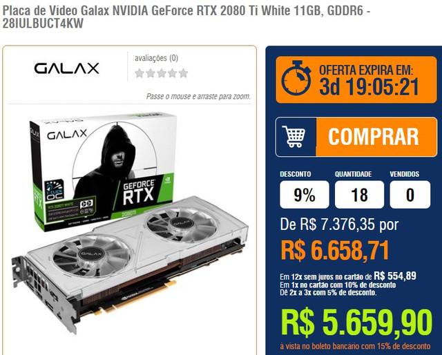 KaBuM] Galax NVIDIA GeForce RTX 2080 Ti White 11GB, GDDR6 - R$ 5 659