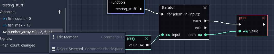Array of Ints in variable with iterator looping and printing out values