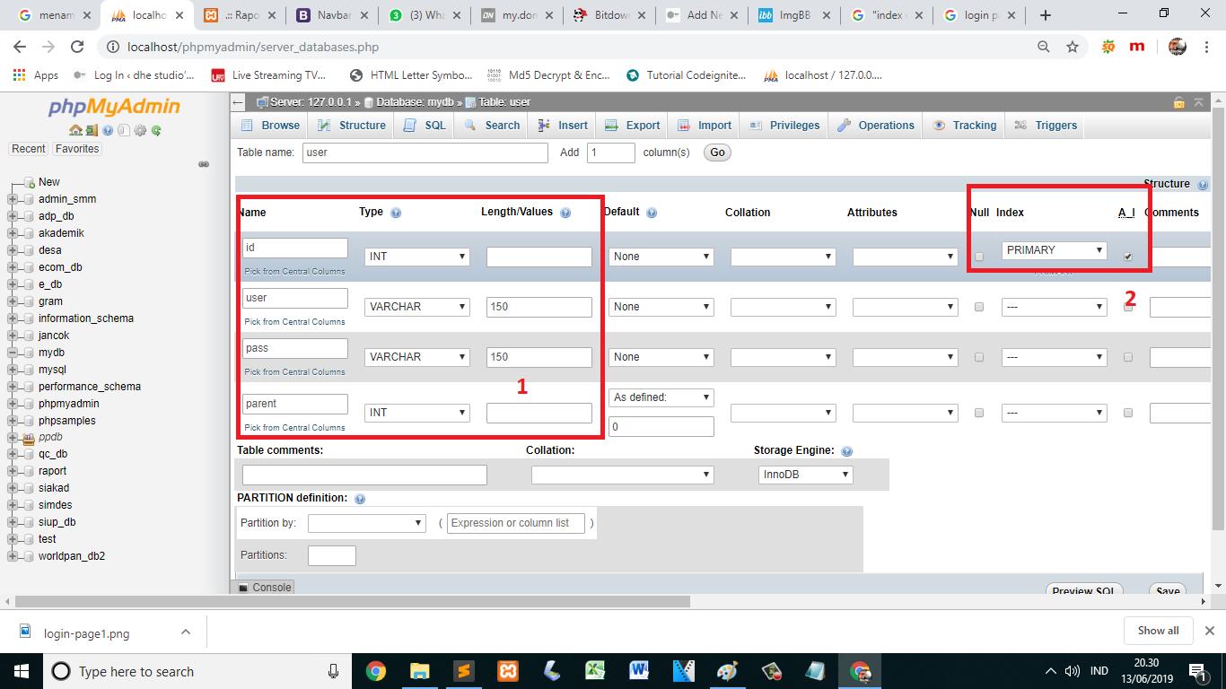 Cara membuat login page - insert data to database