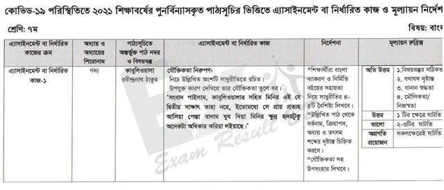 Class 7 Bangla Assignment Answer 2021 [1st Week]