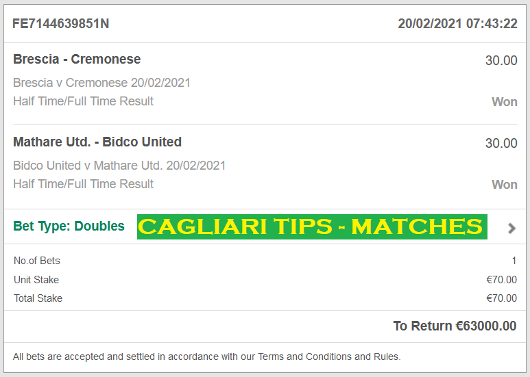 CAGLIARI DOUBLE HT FT