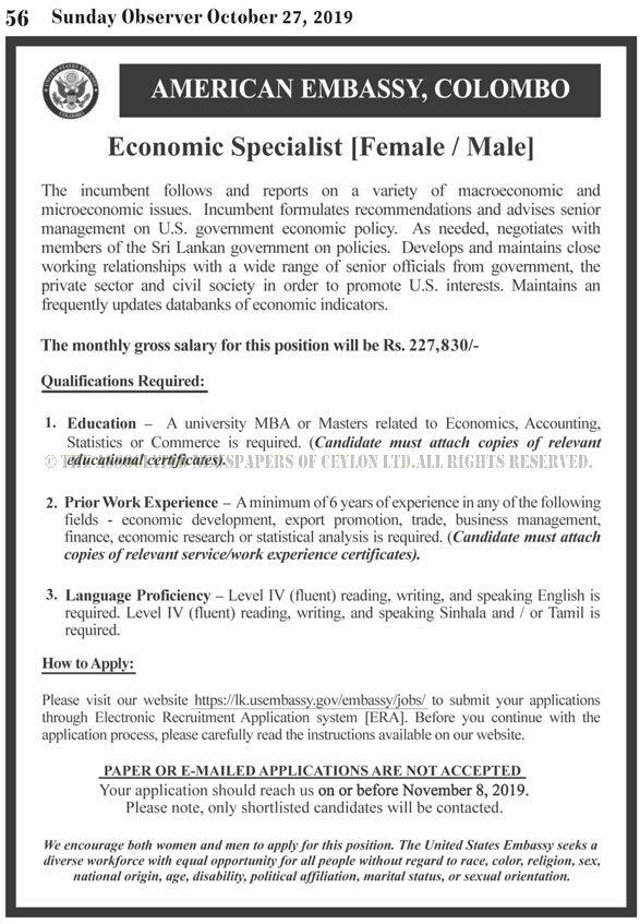 Economic Specialist - United States Embassy in Sri Lanka