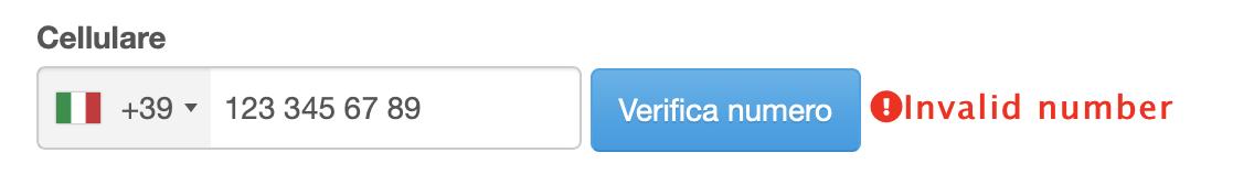 Numero non valido, è necessario modificarlo e quindi premere il pulsante VERIFICA