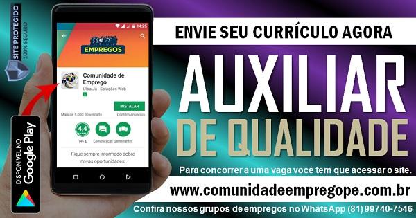 AUXILIAR DE QUALIDADE COM SALÁRIO R$ 1500,00 PARA EMPRESA DE TERCEIRIZAÇÃO