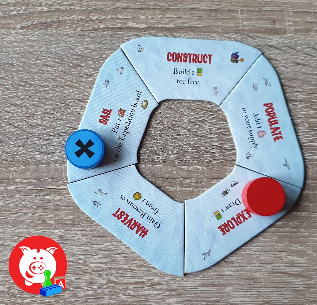 De blauwe speler kan niet nog een actie doen. De rode spelers kan, door een appel weg te doen, naar populate of harvest.