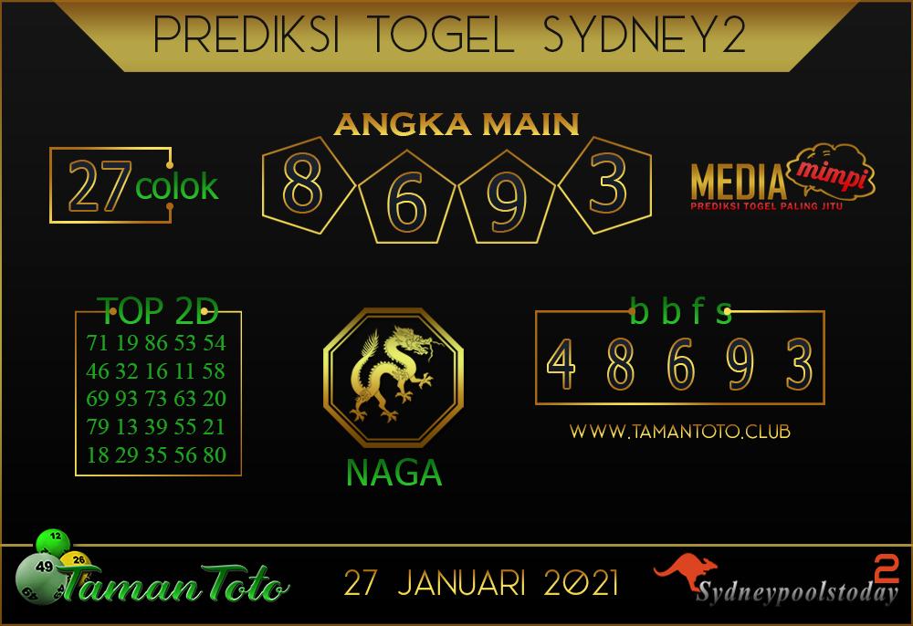 Prediksi Togel SYDNEY 2 TAMAN TOTO 27 JANUARI 2021