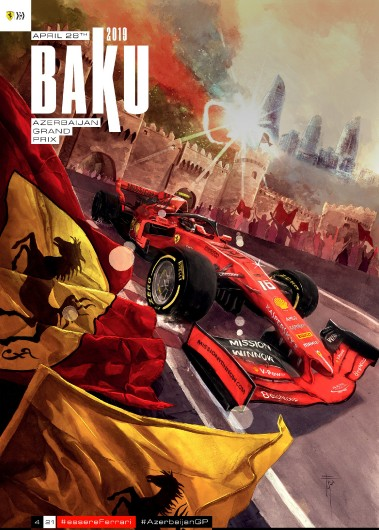 F1 BAKU 2019 FERRARI COVER ART RACE POSTER DVD