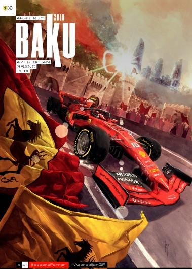 F1 BAKU 2019 FERRARI COVER ART RACE POSTER DVD