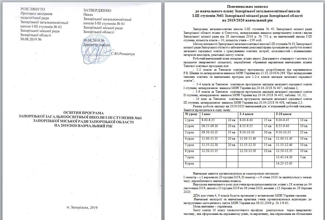 Освітні програми, що реалізуються в ЗОШ №61 14747