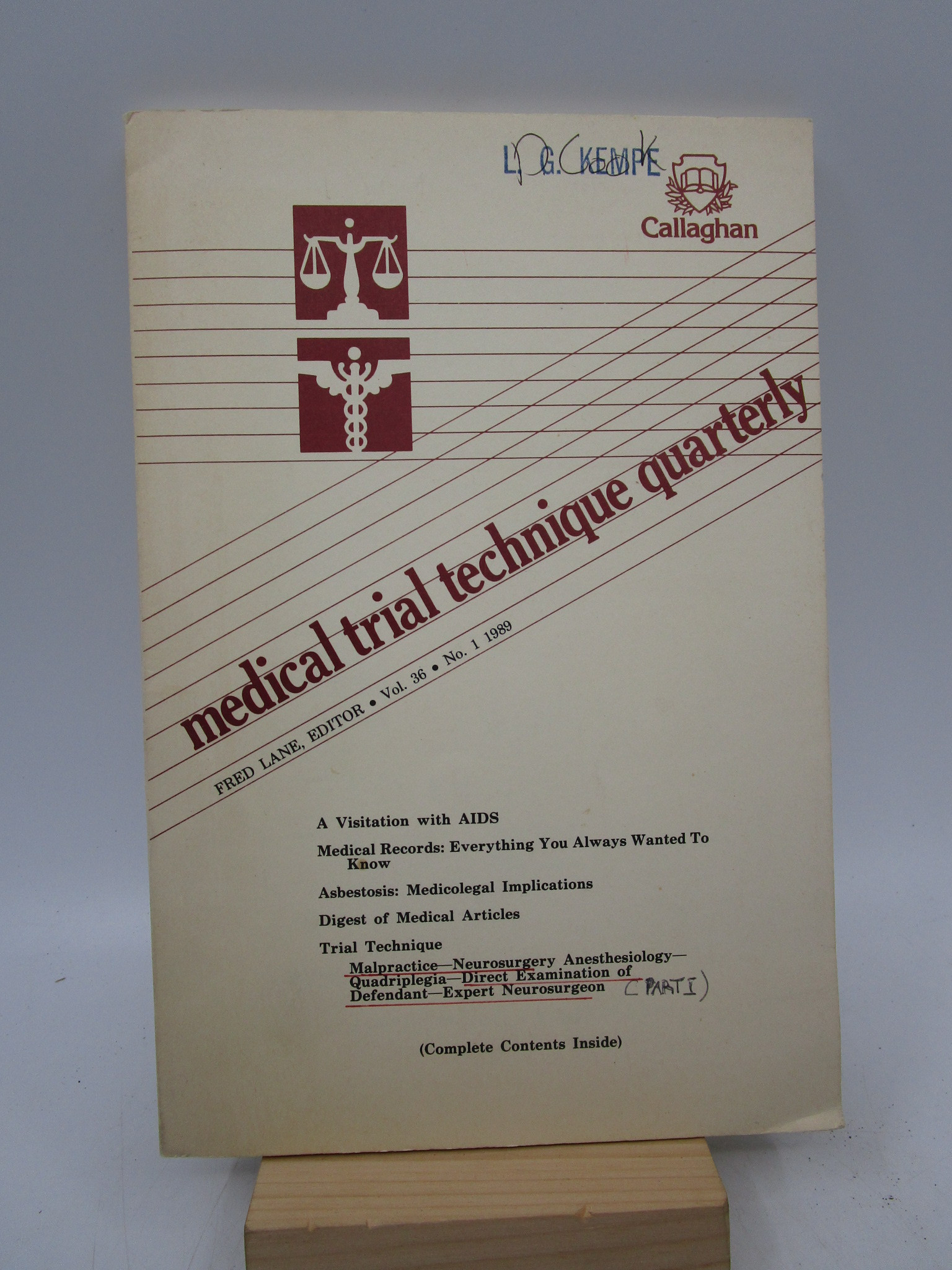 Image for Medical Trial Technique Quarterly Volume 36, No. 1, 1989 (First Edition)