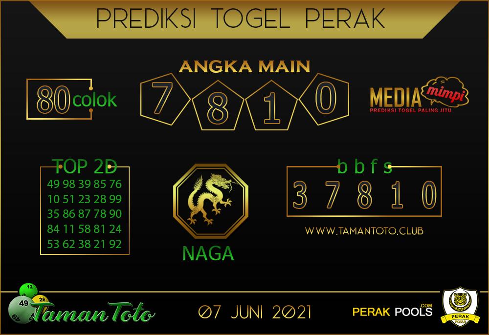 Prediksi Togel PERAK TAMAN TOTO 07 JUNI 2021