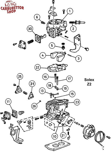 solex-z2-carburettor-drawing-exploded-view