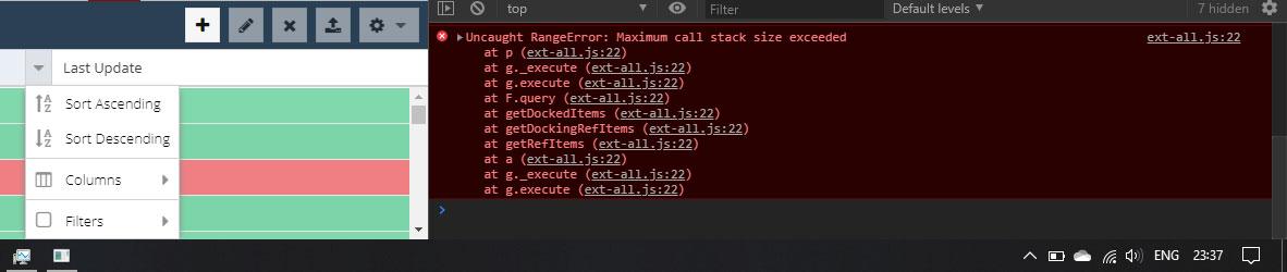 error when click