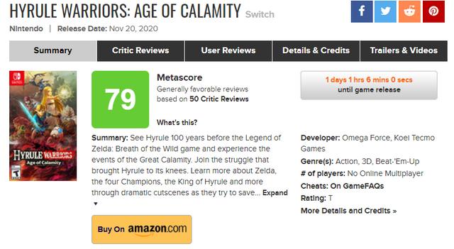 《薩爾達無雙 災厄啟示錄》全球媒體評分解禁,IGN 9分,GameSpot 6分,Game Informer 7.5分。  Image