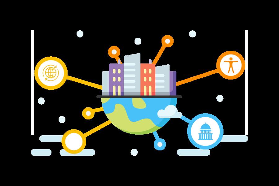 Ilustração colorida com a metade do planeta Terra, na horizontal, e em cima prédios coloridas. Em volta do planeta existem símbolos relacionados a acessibilidade, governança e o globo terrestre.