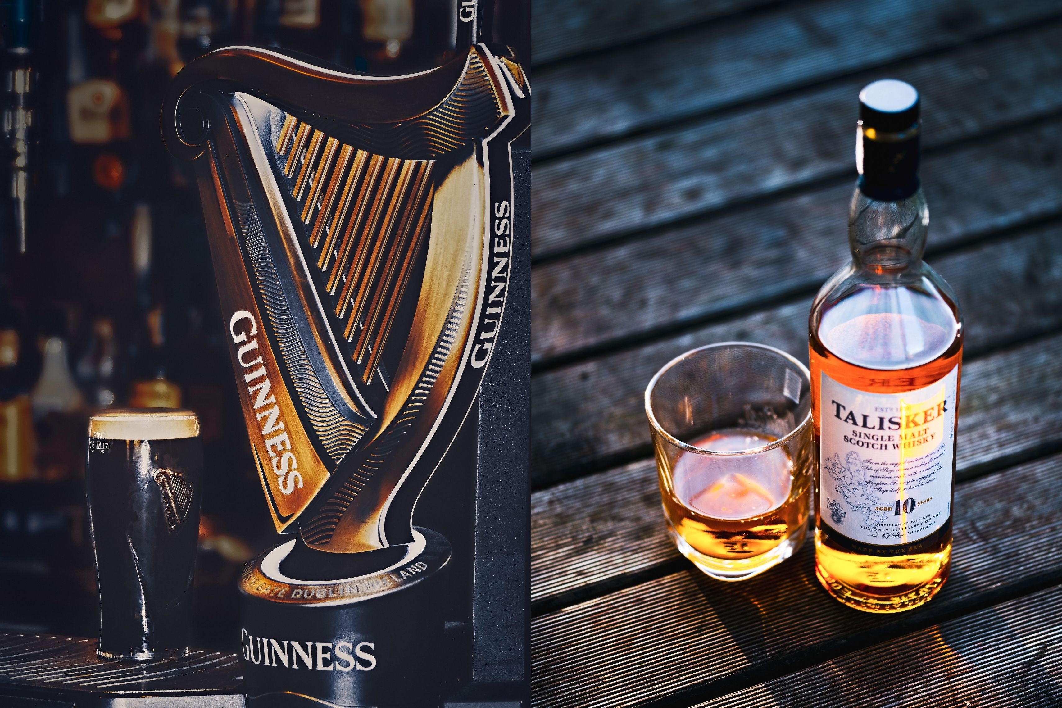 Guiness Whisky, Scottish and irish drinks