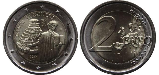 2 евро в честь 750 со дня рождения Данте Алигьери. Италия