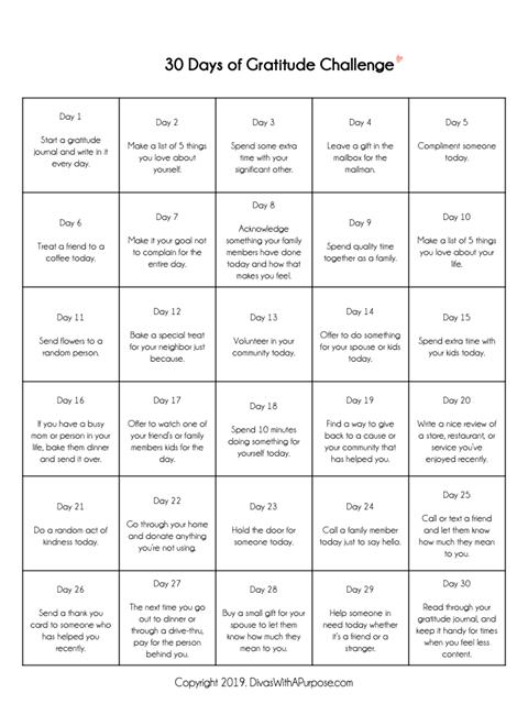 Printable for 30 Days of Gratitude Challenge