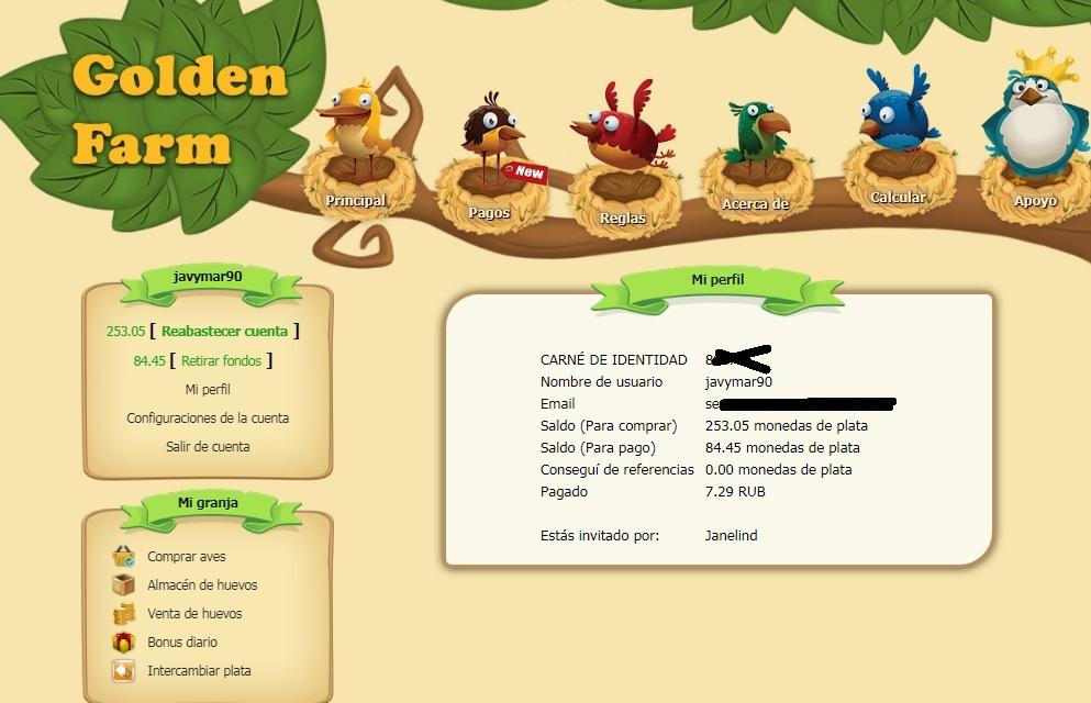 Golden Farm PAGFINA RUSA PAGANDO INIMO DE 1 RUBLO + COMPROBANTE  GOLDEN-FARM-PAGOS