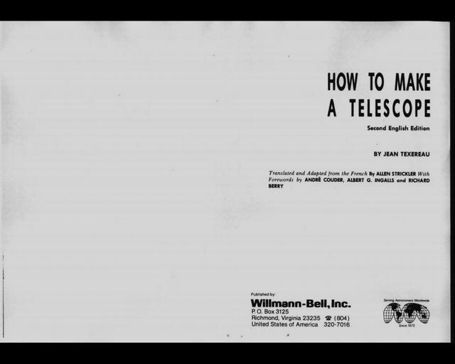 Jean Texereau - How to Make a Telescope