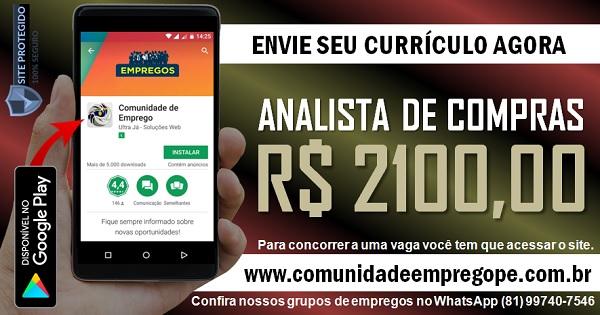 ANALISTA DE COMPRAS COM SALÁRIO DE R$ 2100,00 PARA EMPRESA GRÁFICA