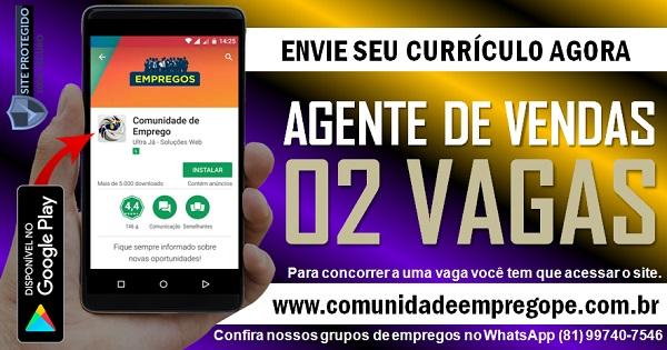 AGENTE DE VENDAS EXTERNO, 02 VAGAS COM SALÁRIO DE R$ 1045,00 PARA EMPRESA NO RECIFE