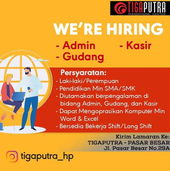 "Loker Terbaru 2019 ""Tiga Putra"" Handphone Center"
