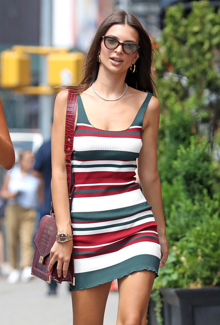 EXCLUSIVE-Emily-Ratajkowski-steps-out-wearing-a-Red-Grey-and-White-striped-body-con-dress-NYC-16-Jul