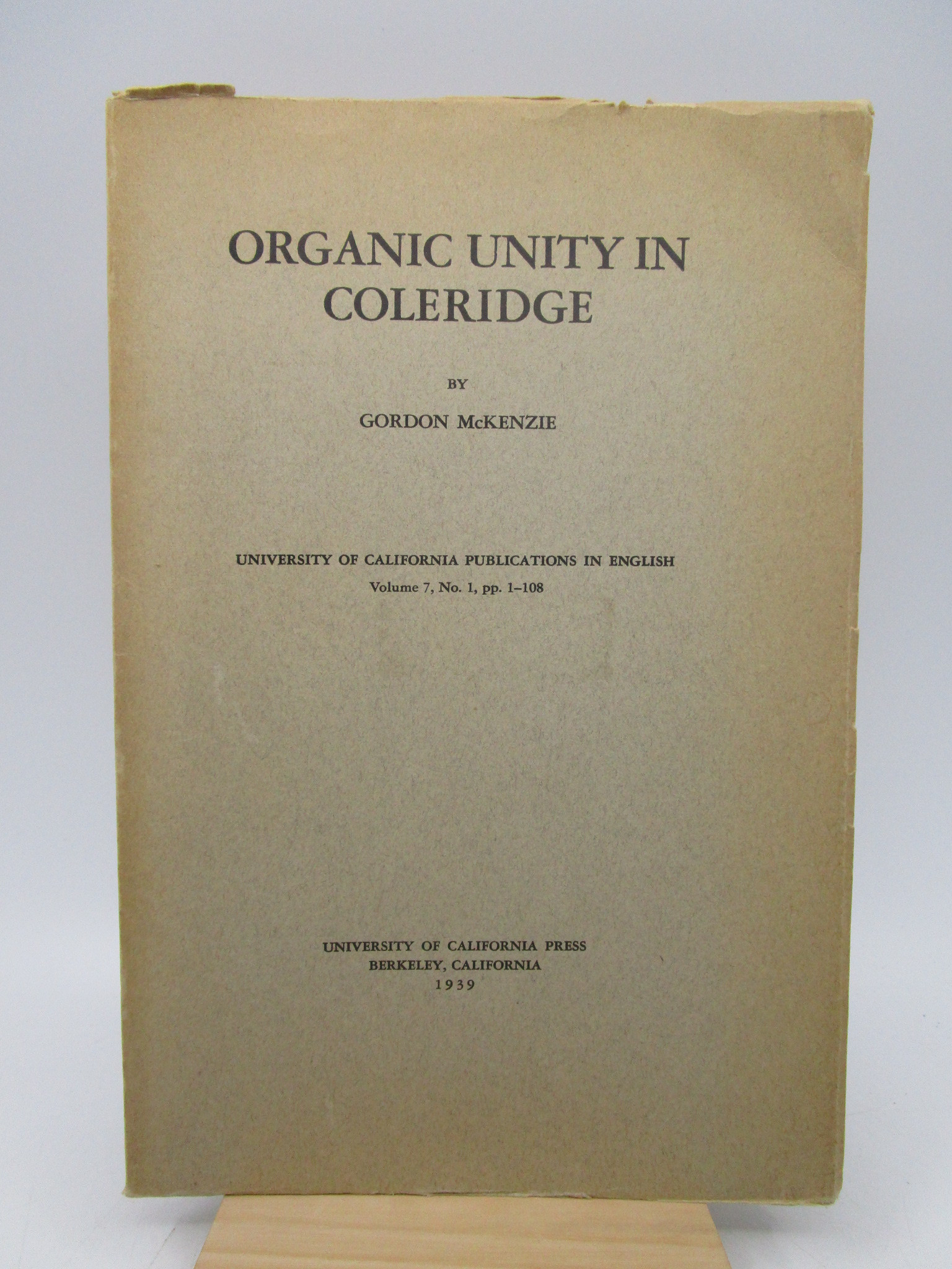 Image for Organic Unity in Coleridge (First Edition)