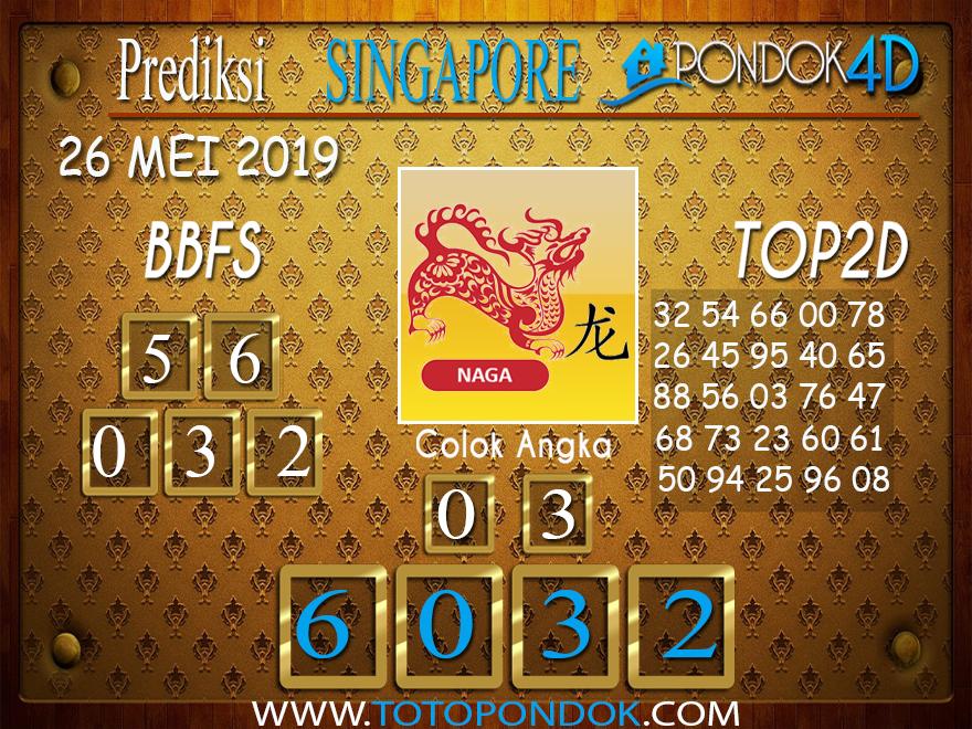 Prediksi Togel SINGAPORE PONDOK4D 26 MEI 2019