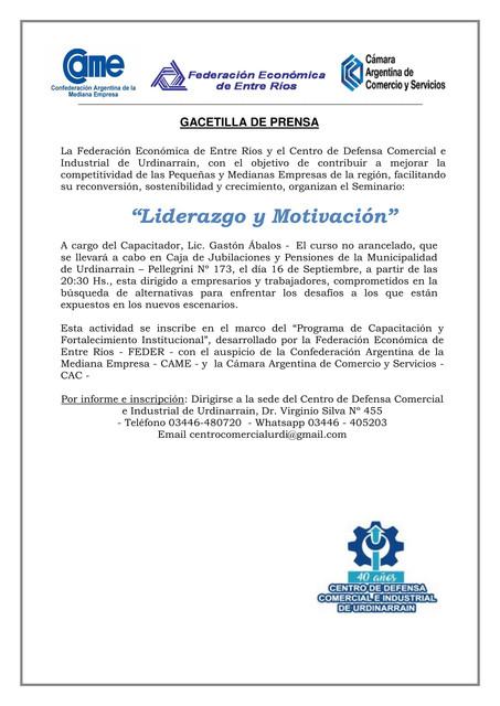 """Locales: Centro de Defensa Comercial e Industrial Urdinarrain: Capacitación """"Liderazgo y Motivación"""""""