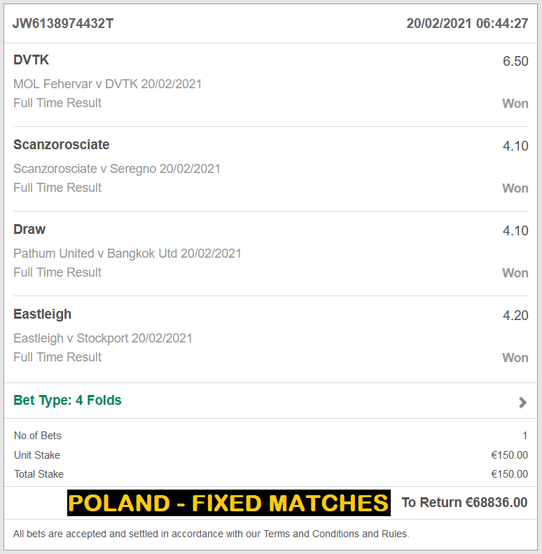 POLAND - FIXED MATCHES | VIP TICKET