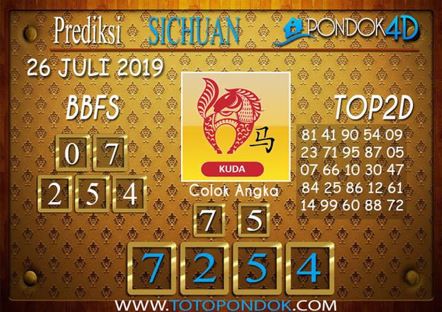 Prediksi Togel SICHUAN PONDOK4D 26 JULI 2019